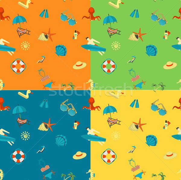 Négy különböző színek nyár tengerpart vektor Stock fotó © HelenStock