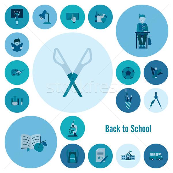 School onderwijs iconen ontwerp stijl Stockfoto © HelenStock