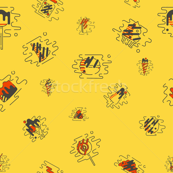 Dessert Seamless Pattern with Modern Flat Elements for Candy Shop Stock photo © HelenStock