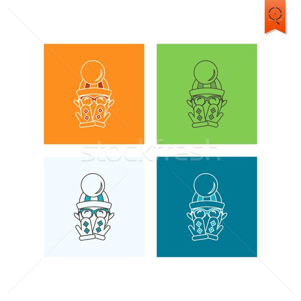 Natal cara colorido vetor laranja assinar Foto stock © HelenStock