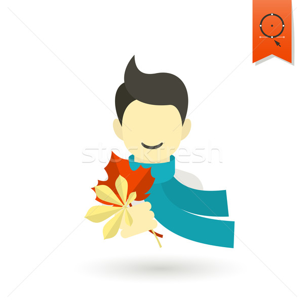 Cheerful Boy with Leaves Stock photo © HelenStock