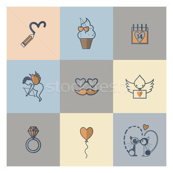 Heureux saint valentin icônes simple ensemble mariage Photo stock © HelenStock