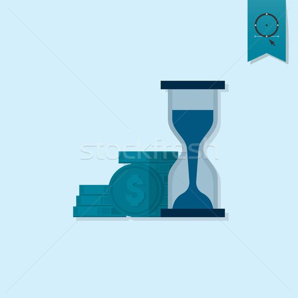 Время-деньги бизнеса Финансы икона простой Сток-фото © HelenStock