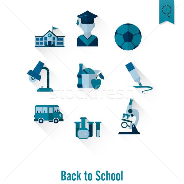 Szkoły edukacji ikona projektu stylu Zdjęcia stock © HelenStock