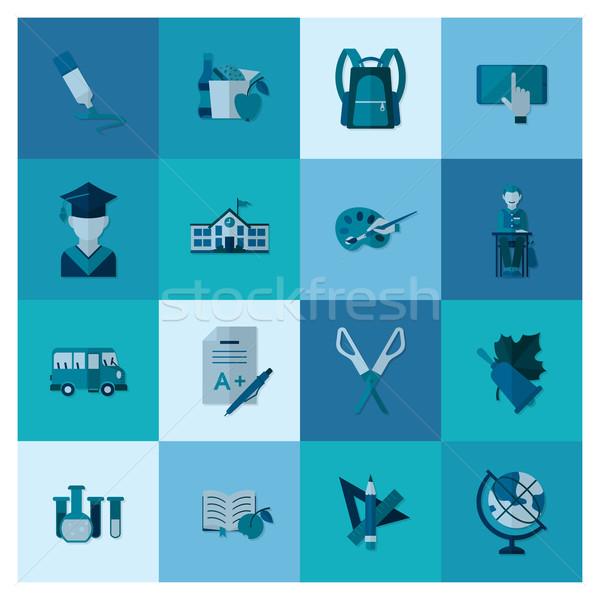 Scuola istruzione icone design stile Foto d'archivio © HelenStock
