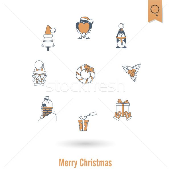 Christmas zimą ikona kolekcja retro kolor Zdjęcia stock © HelenStock