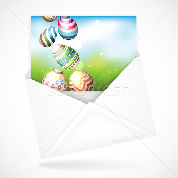Húsvéti tojások fű üdvözlőlap eps 10 boldog Stock fotó © HelenStock
