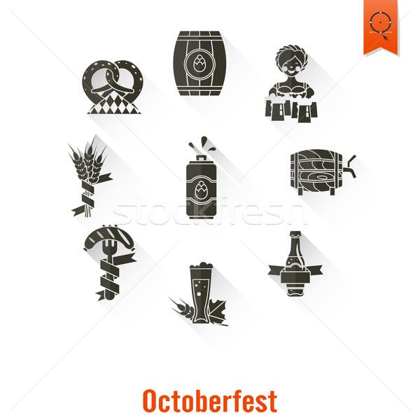 Oktoberfest cerveza festival largo sombra diseno Foto stock © HelenStock