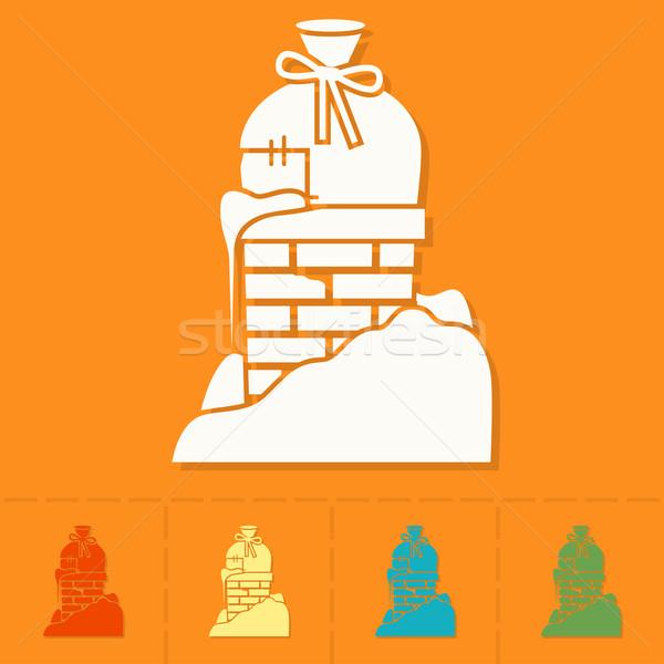 Christmas dar komin kolorowy ikona szczęśliwy Zdjęcia stock © HelenStock