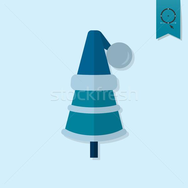 Karácsonyfa kalap monokróm szín ikon fa Stock fotó © HelenStock