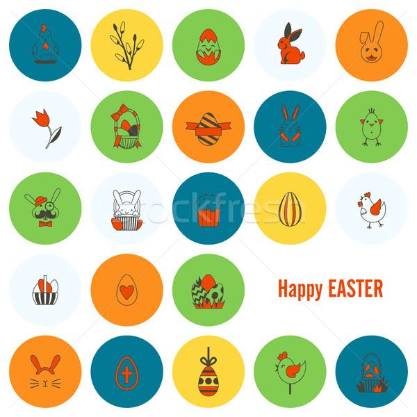 празднования Пасху иконки вектора чистой работу Сток-фото © HelenStock