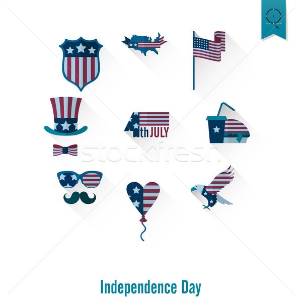 Dzień Stany Zjednoczone proste ikona wektora Zdjęcia stock © HelenStock