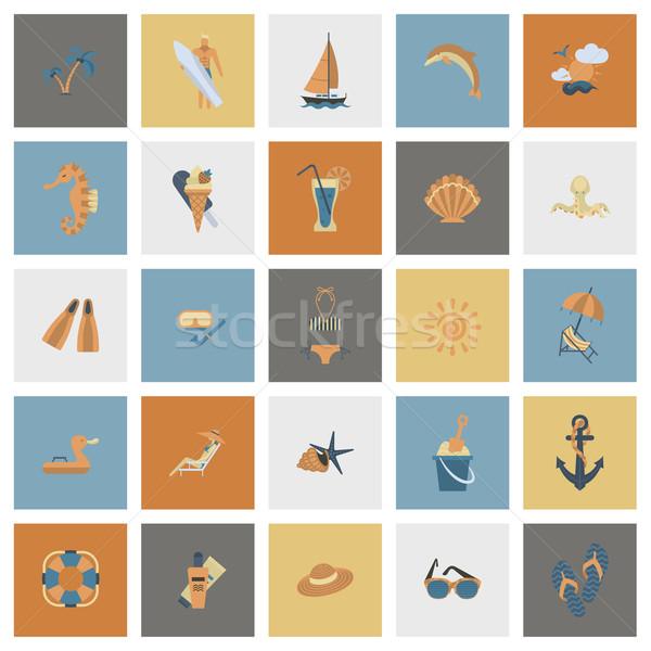 Lata plaży proste ikona podróży wakacje Zdjęcia stock © HelenStock