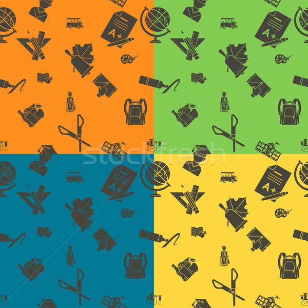 Vissza az iskolába iskola végtelen minta négy különböző színek Stock fotó © HelenStock