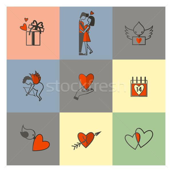 Stock fotó: Boldog · valentin · nap · ikonok · egyszerű · gyűjtemény · esküvő
