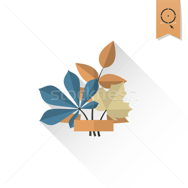 Laisse ruban texte automne icône simple Photo stock © HelenStock