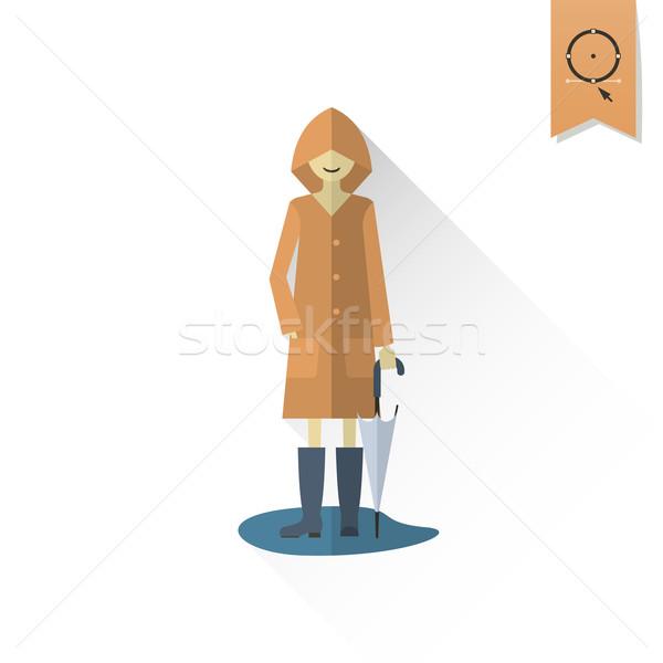 女性 傘 レインコート 水たまり 秋 アイコン ストックフォト © HelenStock
