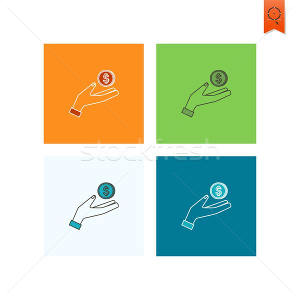 érme kéz üzlet pénzügy ikon egyszerű Stock fotó © HelenStock