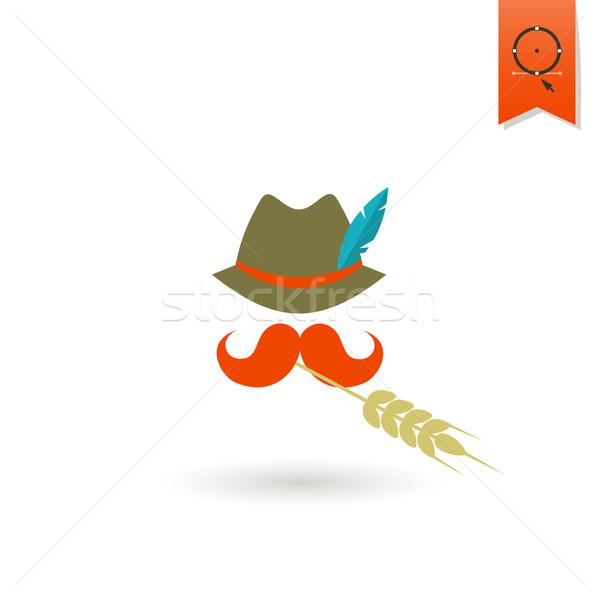 Oktoberfest bier festival hoed veer snor Stockfoto © HelenStock