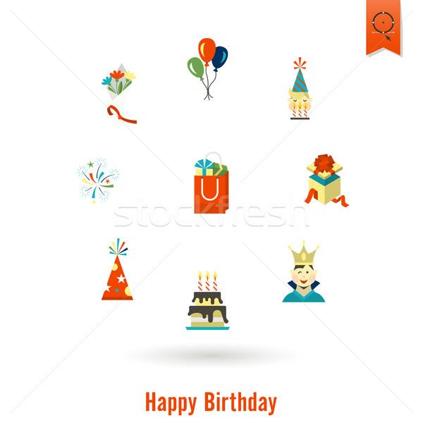 Boldog születésnapot ikon szett egyszerű minimalista stílus színes Stock fotó © HelenStock