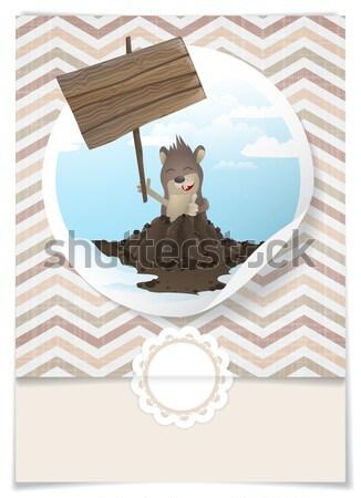 Happy Groundhog Day. Stock photo © HelenStock