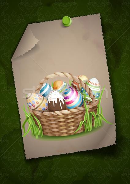 Paskalya sepet tebrik kartı tasarım şablonu tok paskalya yumurtası Stok fotoğraf © HelenStock