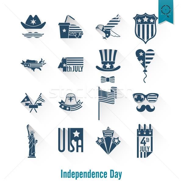 Stok fotoğraf: Gün · Amerika · Birleşik · Devletleri · basit · simgeler · vektör