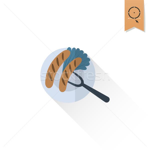 Oktoberfest sör fesztivál grillezett kolbászok tányér Stock fotó © HelenStock