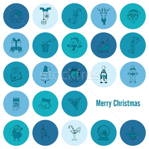 Сток-фото: Рождества · зима · иконки · коллекция · монохромный · цвета