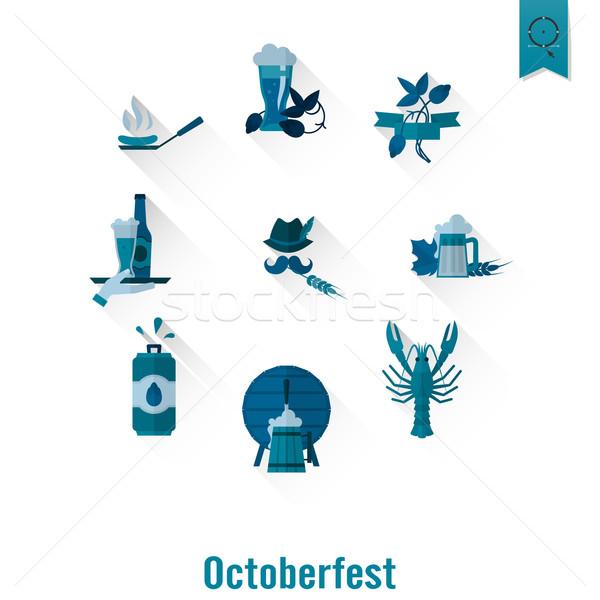 Oktoberfest bira festival dizayn stil vektör Stok fotoğraf © HelenStock