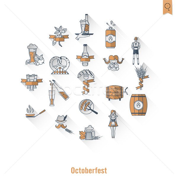 Oktoberfest piwa festiwalu długo cień projektu Zdjęcia stock © HelenStock