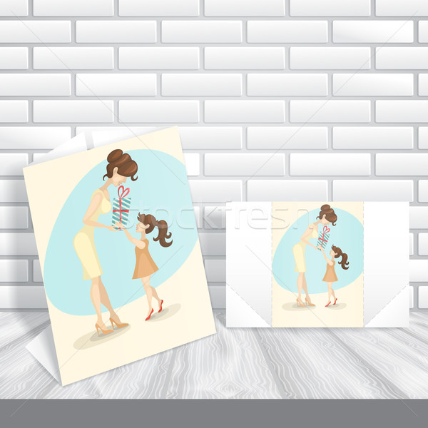 Little Daughter Gives Mom A Gift For Mother's Day Stock photo © HelenStock