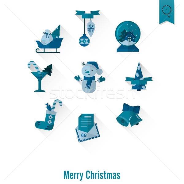 Natal inverno ícones coleção monocromático cor Foto stock © HelenStock