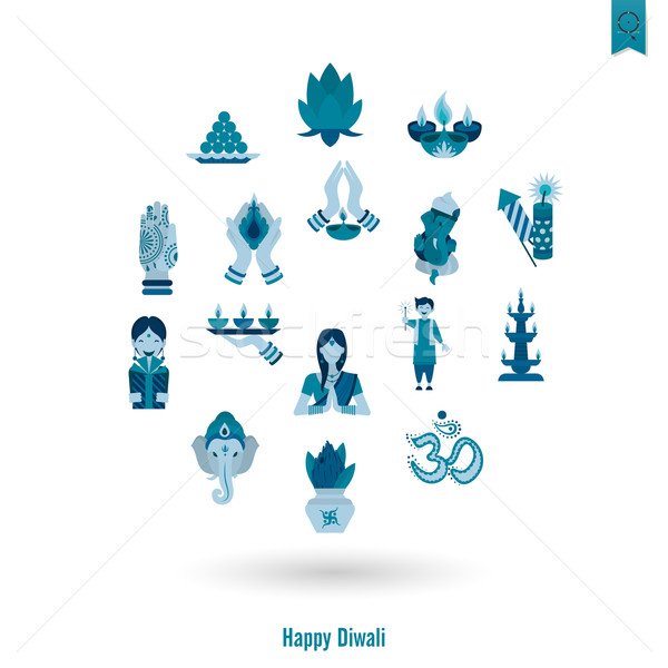 Día de la independencia indio festival iconos simple Foto stock © HelenStock