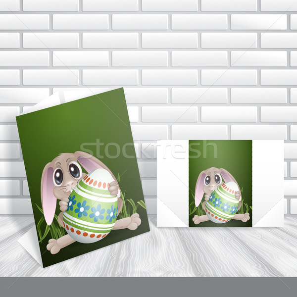 Easter Bunny With Colorful Egg Stock photo © HelenStock