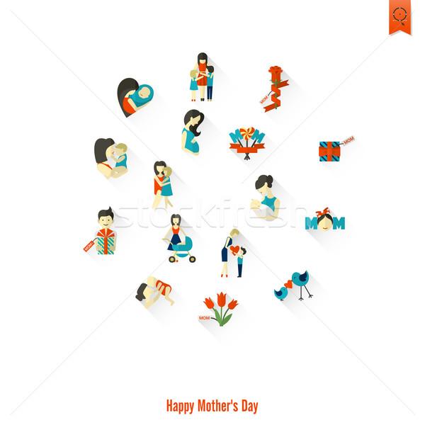 ストックフォト: 幸せな母の日 · アイコン · 単純な · ベクトル · クリーン · 作業