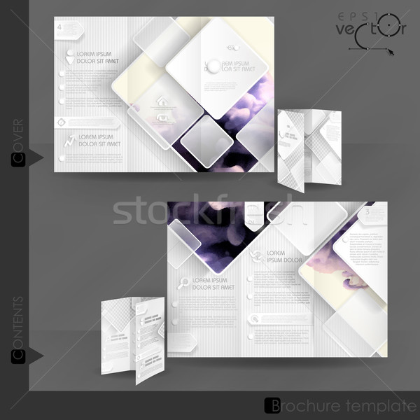 Negocios folleto plantilla diseno blanco cuadrados Foto stock © HelenStock