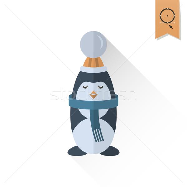 Karácsony pingvin retro szín vektor hosszú Stock fotó © HelenStock