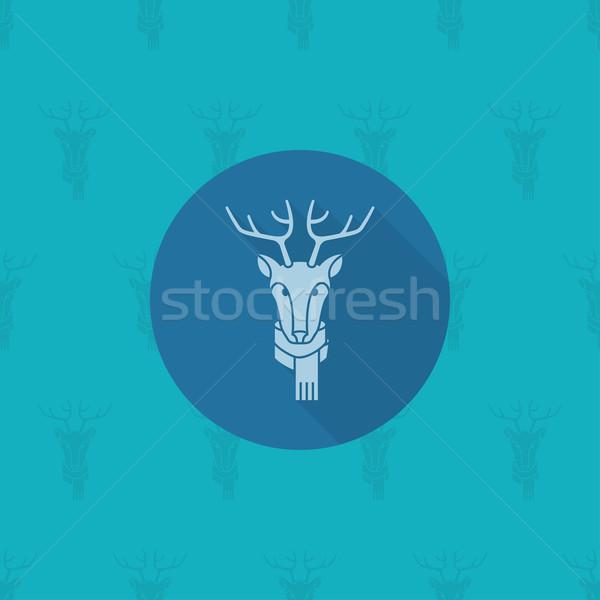 Natal rena monocromático cor vetor longo Foto stock © HelenStock