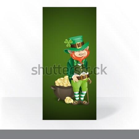St. Patrick's Day. Leprechaun With Pot Of Gold. Stock photo © HelenStock