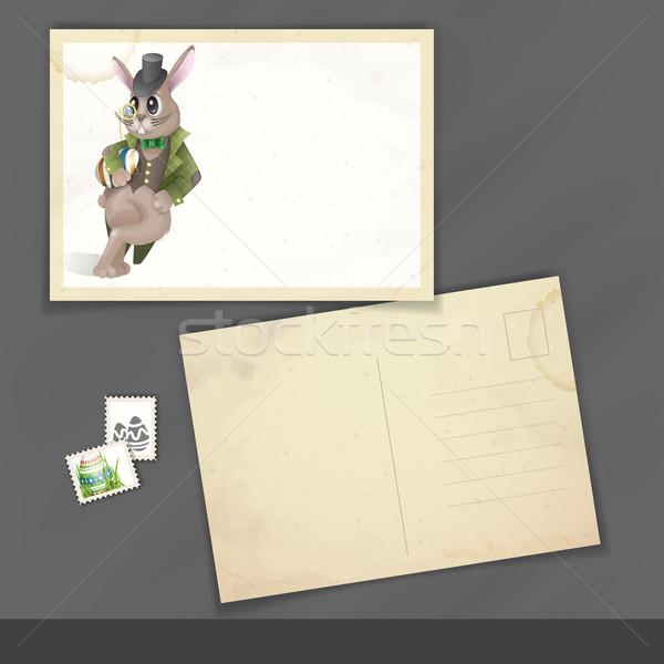 Lapin de Pâques vieux carte postale modèle de conception eps 10 Photo stock © HelenStock