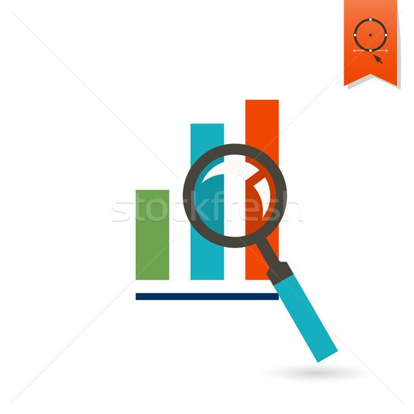 Nagyító oszlopdiagram üzlet pénzügy ikon egyszerű Stock fotó © HelenStock