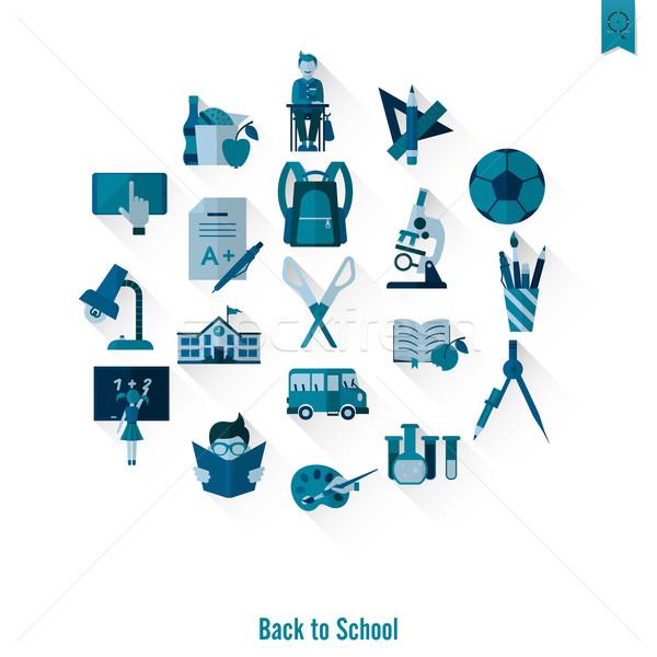 Okul eğitim simgeler dizayn stil Stok fotoğraf © HelenStock