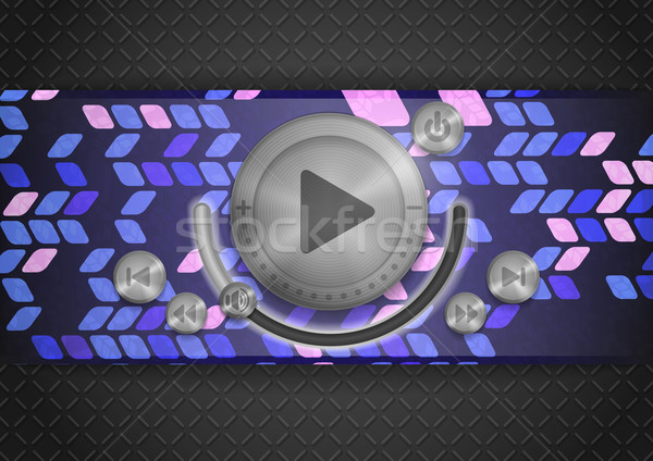 Abstract Technology App Icon With Music Button Stock photo © HelenStock