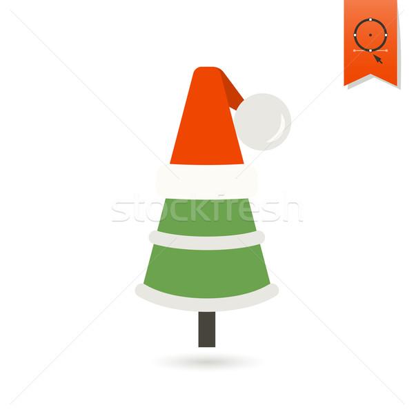 Karácsonyfa kalap színes ikon fa háttér Stock fotó © HelenStock