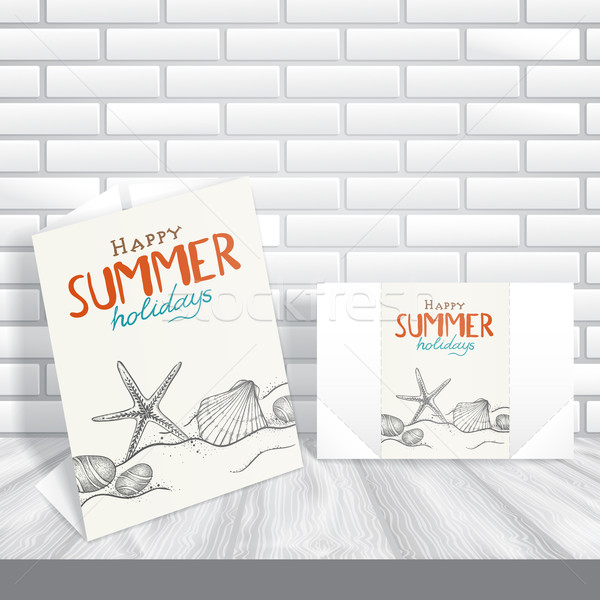 Carte de vœux modèle de conception eps 10 plage heureux Photo stock © HelenStock