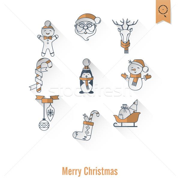 Foto stock: Navidad · invierno · iconos · colección · retro · color