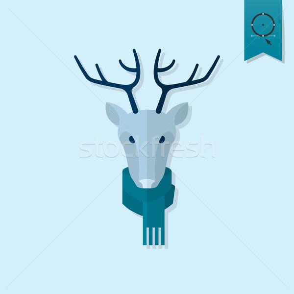 Karácsony rénszarvas monokróm szín vektor felirat Stock fotó © HelenStock