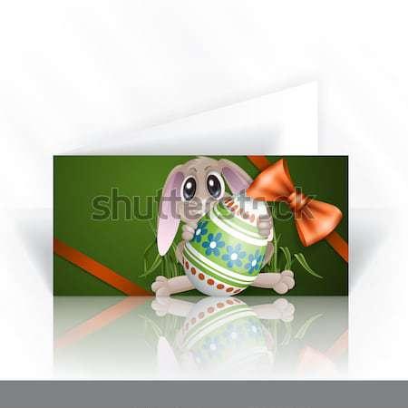 Conejo de Pascua colorido huevo tarjeta de felicitación plantilla de diseño eps Foto stock © HelenStock