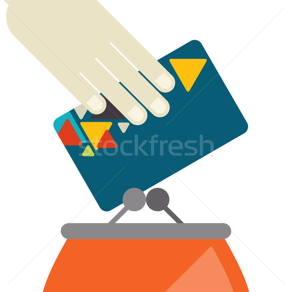 Credit Card And Purse In Flat Design Style Stock photo © HelenStock